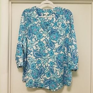 Coral Bay Tropical blue tunic 1X